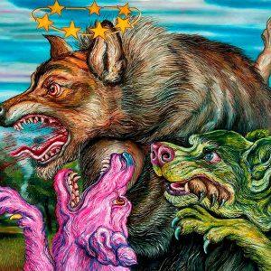 hibrida-perros-de-colores-atacando-a-un-lobo-oleo-sobre-papel-2018